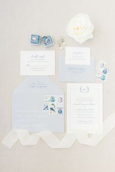 Tranquil blue wedding invitation suite: http://www.stylemepretty.com/2017/04/14/romantic-french-inspired-garden-wedding/# Photography: Koman - http://komanphotography.com/