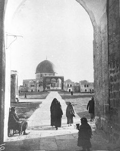 "Gates into the Haram [View from Faisal's Gate looking S, at Temple Mount (""Haram Esh Sherif"" - the Noble Sanctuary. Arabic name - Qubbat es Sahra) in SE corner of Old City. Dome of the Rock (called 'Mosque of Omar' by Gertrude Bell) in background, people in foreground] Date: December 1899 Palestine Art, Palestine History, First Photograph Ever Taken, Gertrude Bell, Old City Jerusalem, Dome Of The Rock, Temple Mount, Photojournalism, Great Artists"