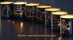 DIY Christmas Luminaries: Candle Holders made from recycled tin cans Tin Can Lanterns, Candle Lanterns, Holiday Crafts, Christmas Crafts, Christmas Decorations, Christmas Patterns, Christmas Candles, Christmas Images, Recycled Tin Cans