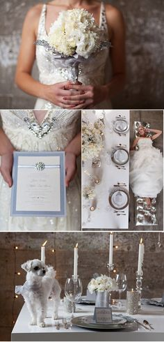 beautiful winter wedding with a diamond touch  (Yes but does poochie have to be on the table?!)