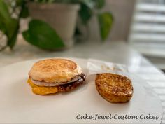 Egg McMuffin and Hash brown vanilla cake and modeling chocolate
