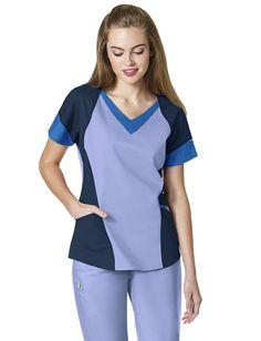 WonderWink Seven Flex Women's Modified V-Neck Scrub Top Scrub Suit Design, Scrubs Pattern, Scrubs Outfit, Uniform Advantage, Medical Uniforms, Medical Scrubs, Scrub Tops, Caregiver, Garden Ideas