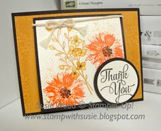 handmade thank you card featuring Touches of Nature from Stamp with Susie ... autumn colors ... luv the stamping ... Stampin' Up
