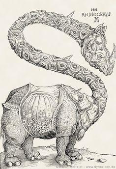 Funny rhino after a woodcut by Albrecht Dürer