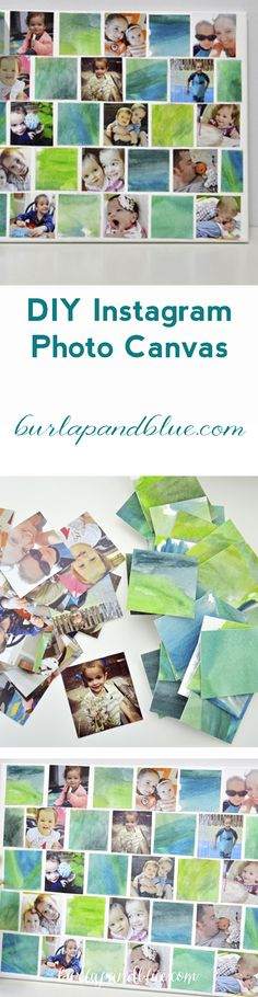 diy instagram photo canvas using mod podge, your photos and watercolors!