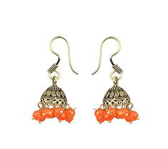 Waama Jewels oxidised metal earring latest best diwali gift traditional Indian style jhumki/jhumka designer multi-colour golden with orange Colour Pearls for women/girls.