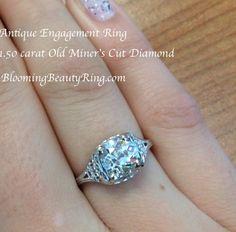 1.50 carat #OldMinersCutDiamondRing #AntiqueDiamondRing #AntiqueDiamondShape http://www.BloomingBeautyRing.com
