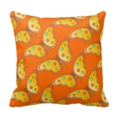 Cute Orange Butterfly Kid's Pillow.   Great for the home. High Quality Designs on gifts for those special people in your life. Look in my store Designs by DonnaSiggy. Copy & Paste this web address: www.zazzle.com/designsbydonnasiggy* Using the Asterisk at the end of the web address helps the artist make a little more money with no extra cost to the buyer. Please share with your family and friends. Thank you for stopping by!  #butterfly #pillow #zazzle