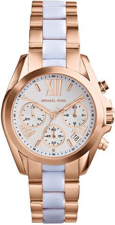 fd27d83ff6 Michael Kors Women s Chronograph Mini Bradshaw White and Rose Gold-Tone  Stainless Steel Bracelet Watch