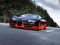 Bugatti Veyron Super Sport - It has increased engine power of 1,200 PS (880 kW; 1,200 bhp), a torque of 1,500 N·m (1,100 lbf·ft), and a revised aerodynamic package. The Super Sport has a 431.072 km/h (267.856 mph) top speed, making it the fastest production road car on the market although it is electronically limited to 415 km/h (258 mph) to protect the tyres from disintegrating.