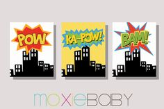 SUPERHERO CITY Boys Room Wall Art Set of 3 by MoxieBabyBoutique, $35.00