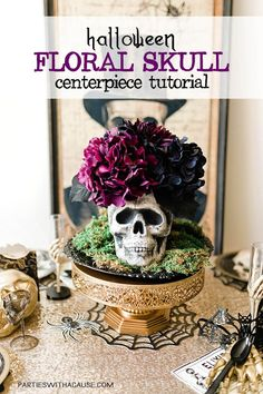 If you love elegant gothic halloween decor you'll love this easy DIY floral skull centerpiece for your next Halloween Party! Try purple hydrangeas or black roses for creepy but classy Halloween decor. Find out how easy it really is at PartiesWithACause.com #diyhalloween #halloweendecor #centerpieceidea #spookyhalloween