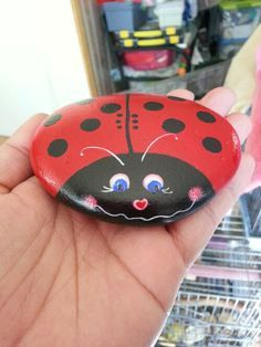 Hand paint Ladybug pet rock paperweight by purpleshammrockshop