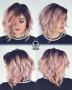 Rose Gold Hair Dark Roots for Medium Length Hair