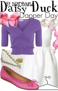 Disney Bound: Daisy Duck from Mickey Mouse and Friends (Dapper Day Outfit) Disney Character Outfits, Disney Themed Outfits, Character Inspired Outfits, Disney Bound Outfits Casual, Disneyland Outfits, Daisy Duck, Dapper Day Outfits, Cute Outfits, Disney Inspired Fashion