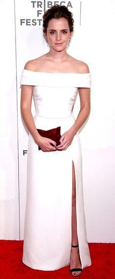 Robe de soirée blanche longue avec épaules dénudées et fente latérale Emma  Watson bd4330eb9cd8
