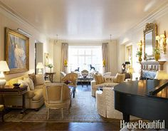 Designer Albert Hadley wanted to create a feeling of intimacy in a large New York living room by breaking it up into smaller seating groups.