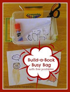 Build-a-Book Kit (with free printables!): This simple kit will keep kids busy for hours making their own books. It can be used with or without the Elephant & Piggie books by Mo Willems.