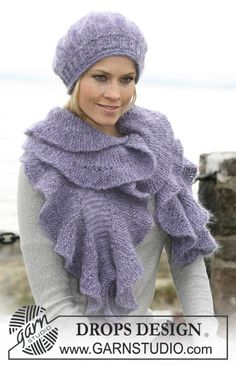 """DROPS scarf with flounces, beret and gloves in """"Alpaca"""" and """"Vivaldi""""."""
