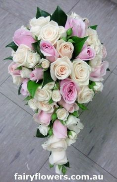 Teardrop rose bouquet wedding flowers bridal bouquet - Fairy Flowers - Wedding Flowers Specialist, Florists, Ringwood East, VIC, 3135 - TrueLocal