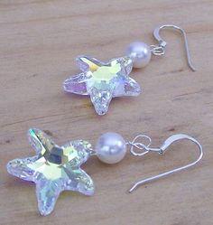 Crystal & Pearl Starfish boucles d'oreilles bijoux de par bonitaj