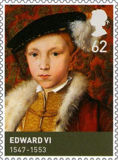 Edward VI (1547-1553), was King of England and Ireland from 1547 until his death. The son of Henry VIII and Jane Seymour, Edward was the third monarch of the Tudor dynasty.  62p  British Stamp (2009)