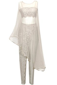 Pale grey mukaish cape with chantiliy lace embroidered bustier and pants available only at Pernia's Pop-Up Shop.