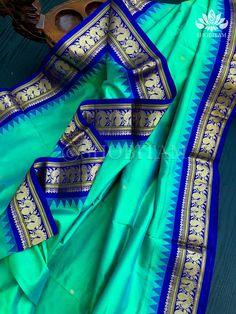 Sea green dual tone Kanjeevaram Silk Saree with Annapakshi Motifs and – Shobitam Kanjivaram Sarees, Silk Sarees, Color Combinations, Temple, Sea, Green, Beautiful, Color Combos, Temples