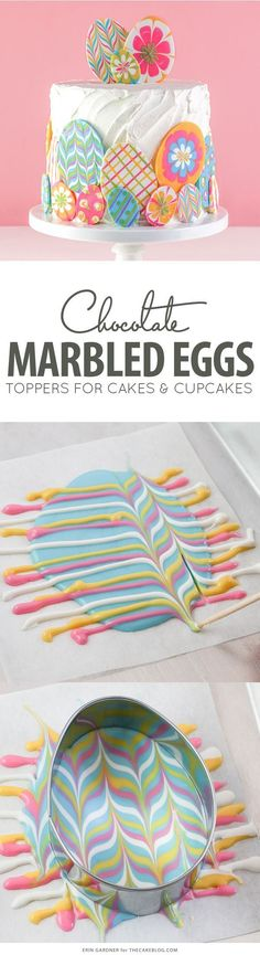 Marbled Chocolate Easter Eggs -how to make marbled Easter egg toppers for cakes and cupcakes using chocolate coating and cookie cutters | by Erin Gardner for TheCakeBlog.com #dyicakedecorating