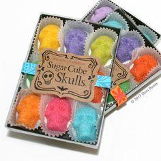 Day of the Dead - Sugar Cube Skulls  - Sugar Skulls Dia De Los Muertos Colors - box of nine skulls