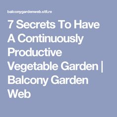 7 Secrets To Have A Continuously Productive Vegetable Garden | Balcony Garden Web