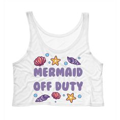 Cropped Tank Top Mermaid Off Duty Seashells Funny Summer Outfit Beach... ($15) ❤ liked on Polyvore featuring tops, crop top, tanks, white, women's clothing, white crop top, beach tank tops, drapey tank e women tops