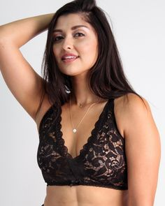 d17c44e5ea Camilla Easy Fit Cross Back Lace Bralette in Black Rose