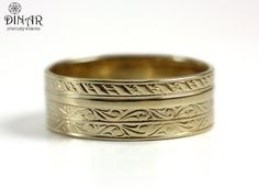 Wedding Band in 14k Yellow Gold , Art Deco wedding ring band, gold ring for men and women, solid gold band