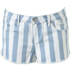 Topshop USA - High Waisted Striped Hotpants ($60) ❤ liked on Polyvore