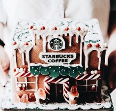 Starbucks gives the traditional gingerbread house a twist by offering the Starbucks Gingerbread Cafe Kit this holiday season. Starbucks Gingerbread House, Starbucks Christmas, Christmas Gingerbread, Gingerbread Houses, Christmas Mood, Merry Little Christmas, All Things Christmas, Holiday Fun, Santa Christmas