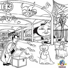 Free Kids Activities Halloween Coloring Pages To Print Haunted Henry Ghost Train Station Thomas Tank