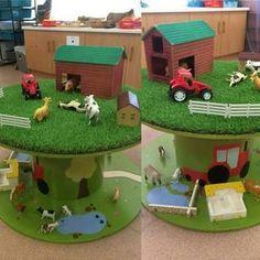 Une ferme pour enfants réalisée avec une bobine de chantier.