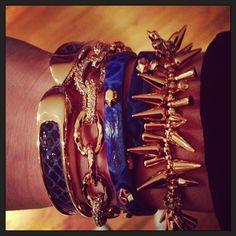 Stella & Dot Blue Arm Party!  Love the Christina Link Bracelet and the Blue Hudson Wrap Bracelet!