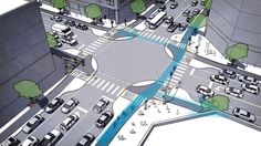 Protected Intersections For Bicyclists. Protected bike lanes are the latest approach US cities are taking to help their residents get around. Incorporate in urban planning. Urban Landscape, Landscape Design, Landscape Architecture, Architecture Design, Parque Linear, Smart City, Urban Planning, Pedestrian, Transportation