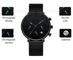 Tineso Men's Black Minimalist Watch - Top-Trends The Watch Shop, Theo Van Gogh, Affordable Hotels, Shops, Black Water, Elegant Watches, Stainless Steel Mesh, Trends, Modern Man
