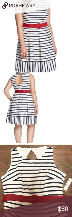 """❣️NWT❣️ELIZA J❣️ STRIPED BLUE AND WHITE DRESS❣️ NWT blue and white stripped dress 18W Fully Lined Sleeve Style: Sleeveless Pleated Dress  Red belt included  Material: Cotton Blends Zipper: Back Exposed Zipper add to the stylish flare of the dress bust 23"""", waist 21"""" and length 39"""" Eliza J Dresses Midi"""