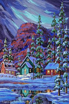 Vladimir Horik, 'Le coeur de Grand-Fonds...', 20'' x 30'' | Galerie d'art - Au P'tit Bonheur - Art Gallery Winter Time, Winter Holidays, House In Nature, Nice Houses, Watercolor Canvas, Diy Art Projects, Witch Art, Old Christmas, Naive Art