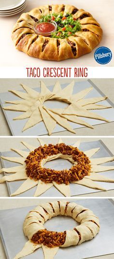 Create a new twist on a classic with this Taco Crescent Ring! Dress it with fresh lettuce, chopped tomatoes and salsa for a fun and easy weeknight dinner. Serve for your family or friends at a party, this healthy recipe has all the flavors you love.