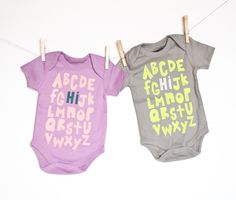 Hi - alphabet baby bodysuit - organic cotton hand printed by EarthCadets on Etsy https://www.etsy.com/listing/230882516/hi-alphabet-baby-bodysuit-organic-cotton