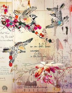 ⌼ Artistic Assemblages ⌼ Mixed Media & Collage Art - sun on dark leaves | canaries | in the hedgerow ~ by Sharon Brogan  #art #journal