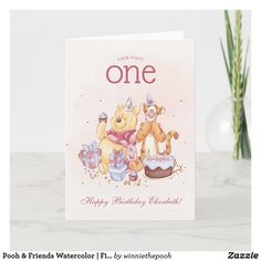 Pooh & Friends Watercolor First Birthday Card Disney Birthday Card, First Birthday Cards, 1st Birthday Parties, Birthday Party Invitations, Girl Birthday, First Birthdays, Happy Birthday, Invites, Birthday Ideas