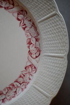 Antique Wedgwood Etruria Plates Basketweave Strawberries Set of 9