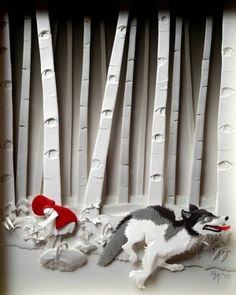 little red riding hood and the wolf in the forest by alba