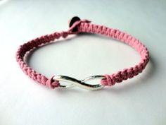"""Infinity Charm Bracelet, Macrame Hemp in Light Pink"". Meet Amanda Henry, the jewelry maker behind the shop @OrangeOval2 on Etsy.com! http://etsyitemoftheday.com/infinity-charm-bracelet-macrame-hemp-in-light-pink/"